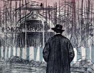 Ramon Casas se autorretrato frente a los andamiajes de las obras de construcción de la —por entonces inacabada— Puerta Monumental del recinto ferial.
