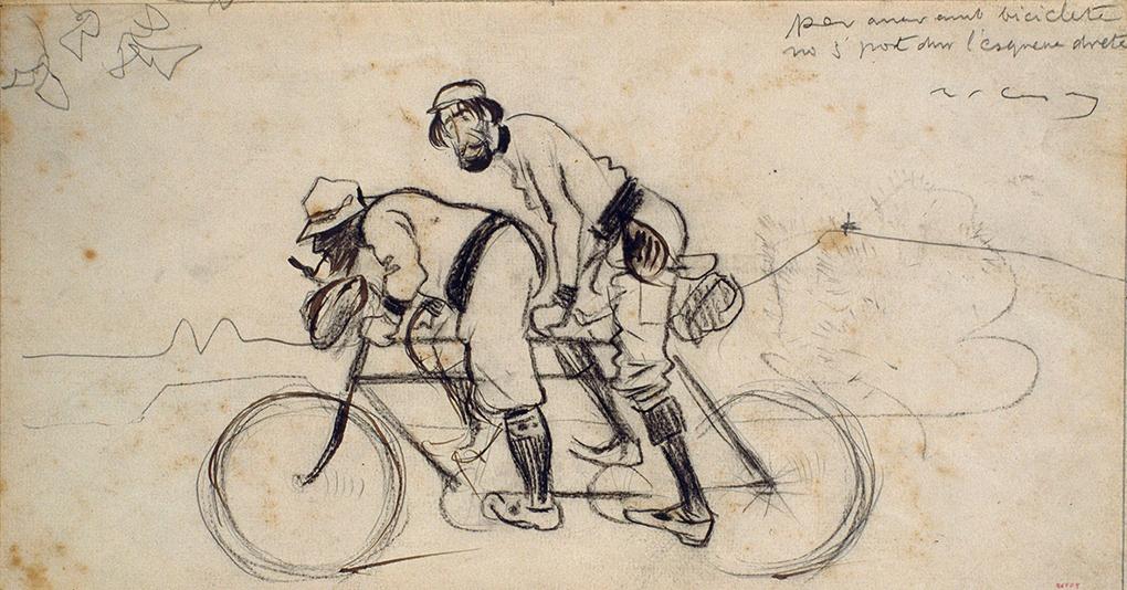 Ramon Casas. Per anar amb bicicleta no s pot dur l'esquena dreta - MNAC