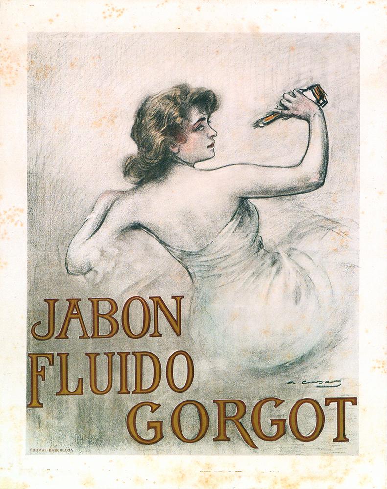 Jabón Fluido Gorgot. Cromolitrografía sobre papel, Impr. J. Thomas, c. 1905 -Col·lecció Marc Martí