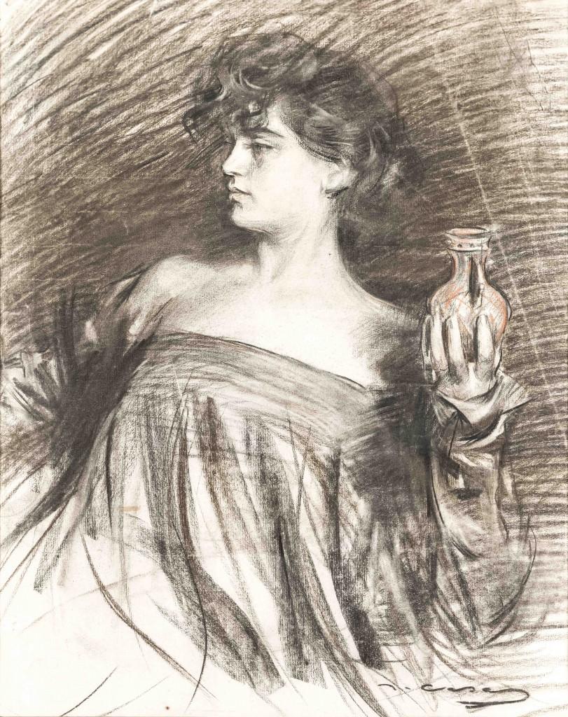 Júlia sosteniendo un frasco de perfume. Carboncillo y sanguina sobre papel, c. 1906
