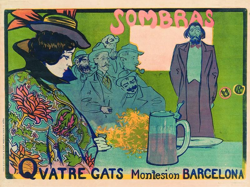 02 4064_casas Sombras - Quatres Gats, 1897. Cromolitografía sobre papel. Impr.Utrillo&Rialp. Barcelona, 66,5x89cm. Foto Marc Martí BR