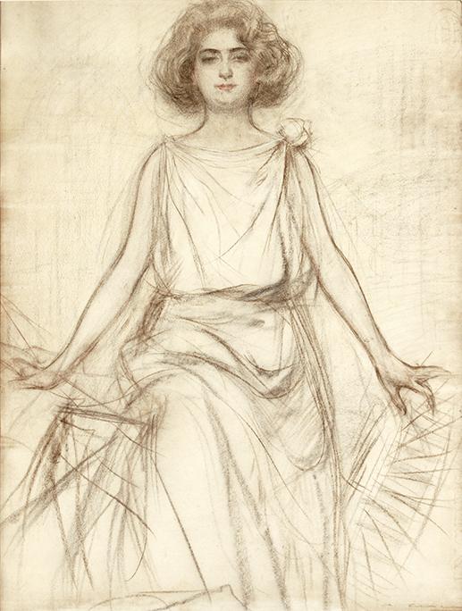 Estudio para el cartel de Els Jochs Florals Barcelona. Carboncillo sobre papel. Circa 1915 - Gothsland Galeria d'Art