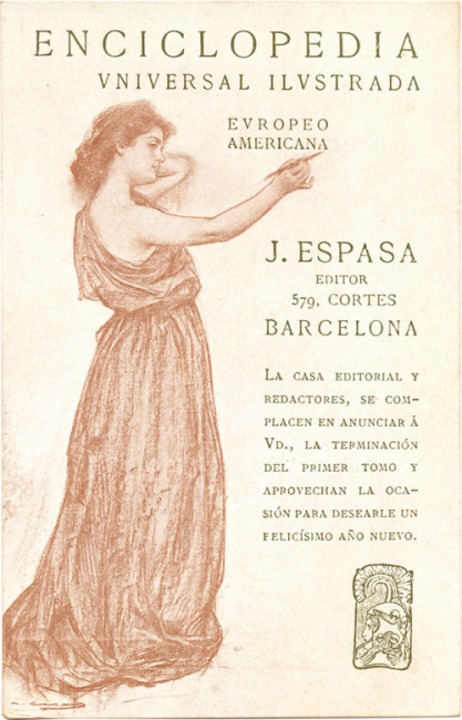 Postal promocional para la Enciclopedia Espasa, c. 1907.