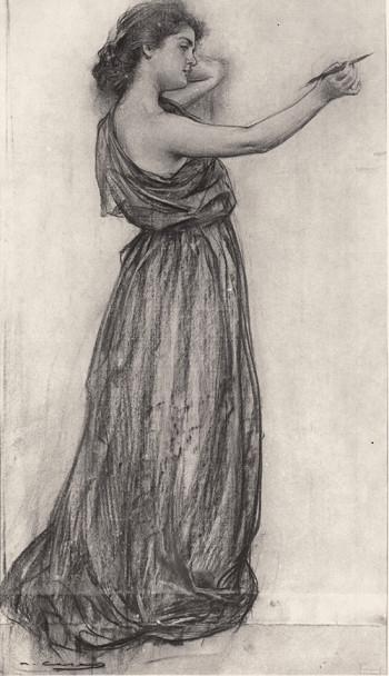 Júlia escritora. Carboncillo sobre papel, c. 1907.