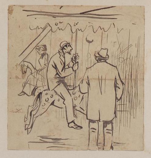 Montando los caballitos. Lápiz y tinta sobre papel, c. 1891.