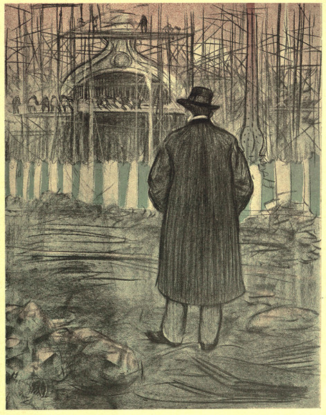 El extranjero. Carboncillo y cera sobre papel, 1900. Publicado en Pèl & Ploma, 21 de abril de 1900.
