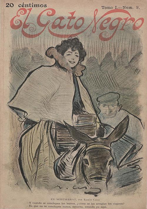 En Montserrat. Portada de El Gato Negro, 22 de enero de 1898.