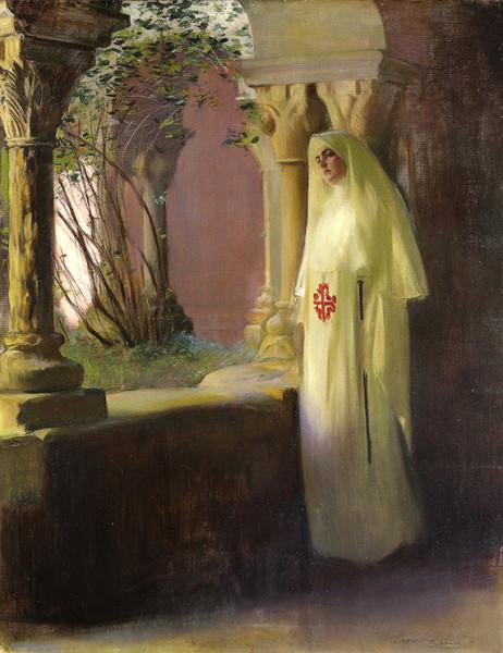 Júlia vestida de monja en el claustro de San Benet. Óleo sobre lienzo, c. 1914.