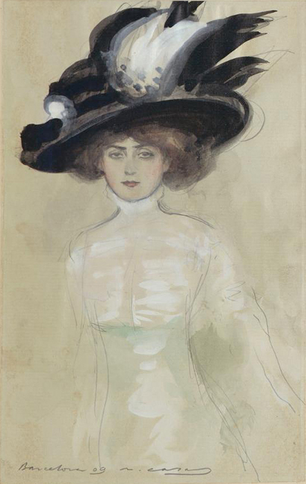 Boceto para la pintura Júlia amb vestit blanc i gran barret. Lápiz de grafito y témpera sobre papel, Barcelona, 1909.
