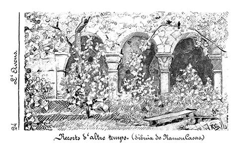 Recorts d'altre temps (1881). Dibujo publicado en la revista L'Avenç, 9 de octubre de 1891.