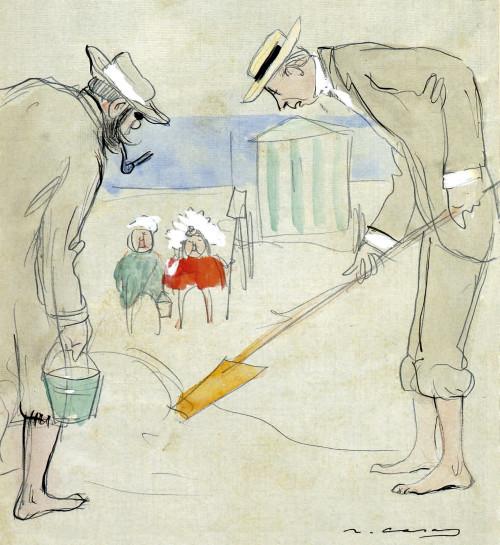 En el dibujo, Ramon Casas se autorretrata con Charles Deering haciendo castillos de arena en la playa de Cabourg, en agosto de 1911. Los dos amigos realizaron una serie de viajes por Europa, como refleja esta estancia en Normandía. Ramon Casas y Charles Deering cavando un agujero en la playa con dos niños observando. Tinta y acuarela sobre papel, 1911