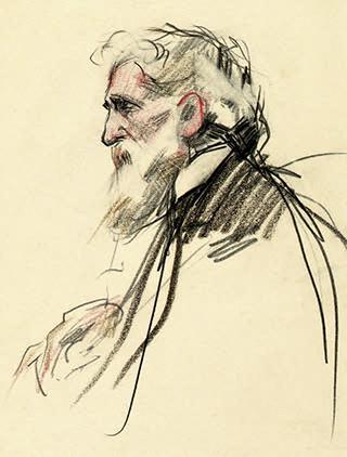 Retrato de William Deering. Carboncillo y pastel sobre papel, c. 1908-1909.