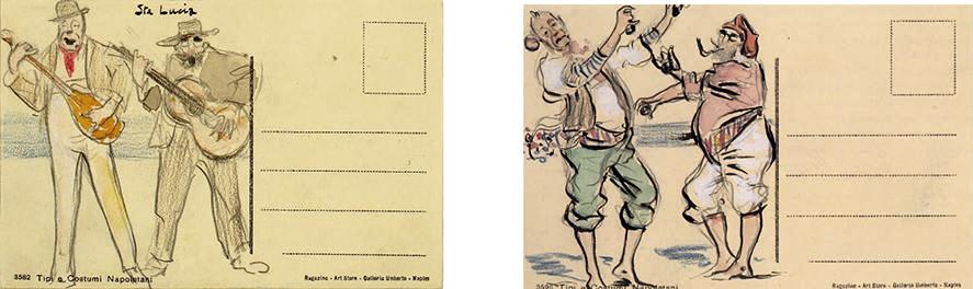 Charles Deering y Ramon Casas tocando la guitarra. Lápiz grafito y acuarela sobre carta postal, 1911 (izq) y Ramon Casas y Charles Deering vestidos de napolitanos bailando. Carboncillo, pastel y acuarela sobre carta postal, septiembre de 1911 (der).