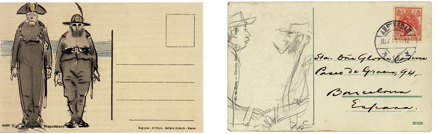 Ramon Casas y Charles Deering vestidos con uniformes militares. Lápiz grafito y acuarela sobre carta postal, septiembre de 1911 (izq) y Retrato de Ramon Casas y Charles Deering. Lápiz sobre carta postal enviada desde Ámsterdam en 1911 (der).