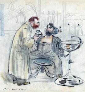 El mismo Casas también se autorretrató de manera humorística en esta situación comprometida, en manos del dentista, como se puede ver en el dibujo.