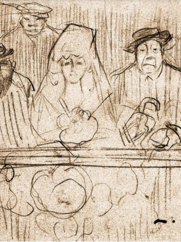 Junto a estas líneas, un documento representativo de los dibujos caricaturescos de Ramon Casas. La escena nos muestra una manola flanqueada por el pintor y por Deering; al fondo, adivinamos los rostros de los criados orientales de éste último.