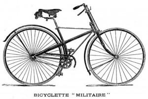 La bicicleta de seguridad de tipo militar, como la mostrada en el grabado reproducido sobre estas líneas, tuvo un éxito abrumador en las postrimerías del siglo XIX. Los principales fabricantes franceses e ingleses encontraron en ese modelo al sucesor evolucionado del velocípedo.