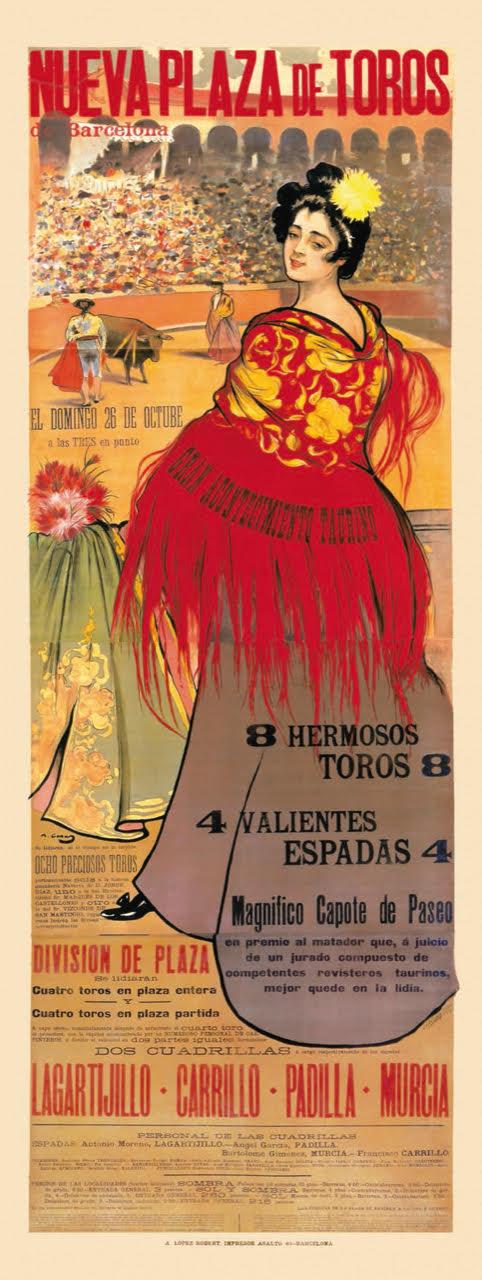 La vinculación de Ramon Casas con el mundo del folclore fue más allá de las chulas y manolas, convirtiéndose en un artista de referencia del mundo del toreo. Fruto de esta vinculación fue el encargo del cartel de la inauguración de la plaza de toros de Las Arenas de Barcelona, en 1900, mostrado junto a estas líneas. El cartel fue reutilizado para anunciar distintas corridas. La ilustración de base era reproducida a una tinta mientras que el texto, variable en cada ocasión, se sobreimprimía.