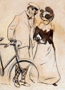 Todo buen burgués debía ser un auténtico sportsman y vestir como tal. Así lo reflejó Ramon Casas en el dibujo de la pareja ciclista que acompaña a estas líneas, que se convirtió en la portada de la revista Pèl & Ploma junto a una leyenda que reproduce un diálogo de tono satírico protagonizado por ambos personajes.
